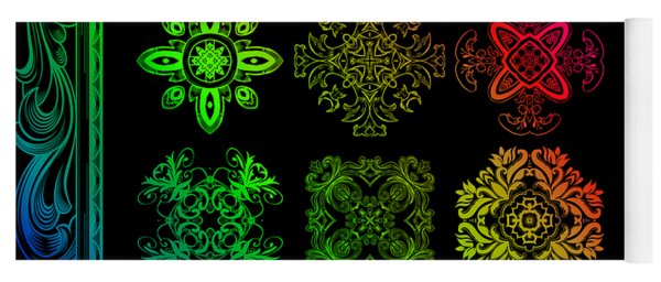 Coffee Flowers Ornate Medallions Color 6 Piece Callage 1 Yoga Mat
