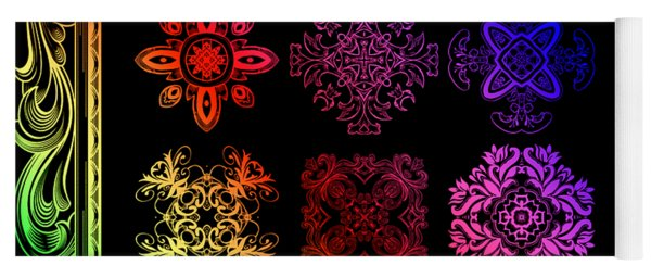 Coffee Flowers Ornate Medallions Color 6 Piece Collage 2 Yoga Mat