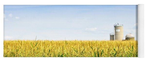 Corn Field With Silos Yoga Mat