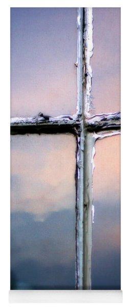 Empty Cross On The Window Of An Old Church Yoga Mat