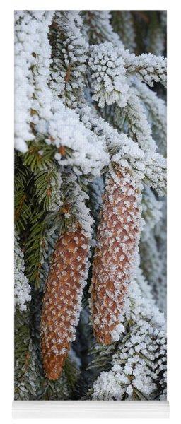 Fir Cones In Winter Yoga Mat