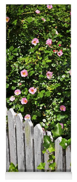 Garden Fence With Roses Yoga Mat