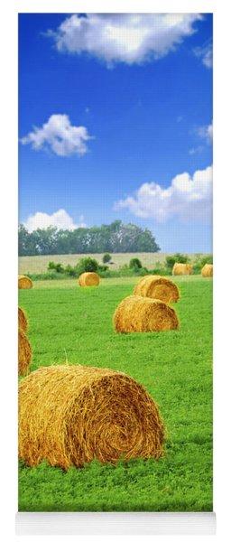 Golden Hay Bales In Green Field Yoga Mat