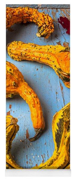 Gourds On Wooden Blue Board Yoga Mat