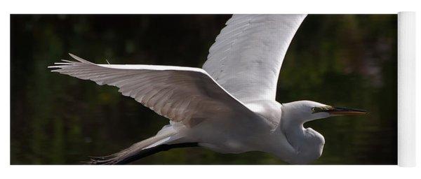 Great Egret Flying Yoga Mat