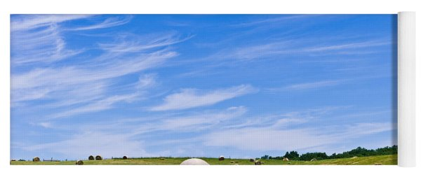 Hay Bales Under Brilliant Blue Sky Yoga Mat