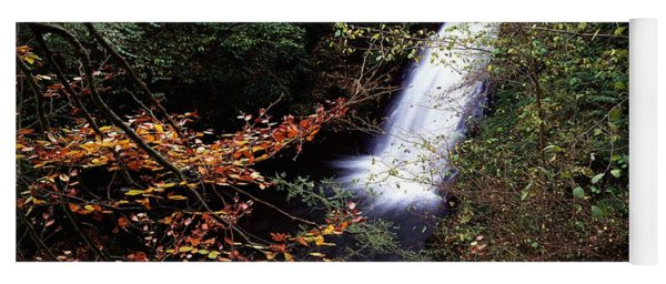 High Angle View Of A Waterfall, Glenoe Yoga Mat