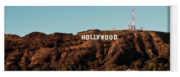 Yoga Mat featuring the photograph Hollywood Sign At Sunset by Lorraine Devon Wilke