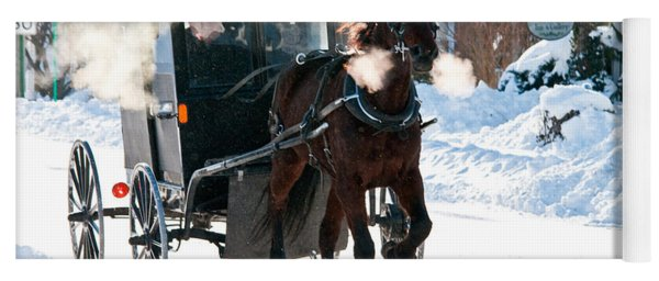 Horse And Buggy In The Snow Yoga Mat