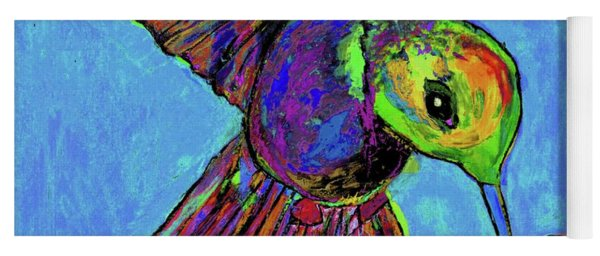 Hummingbird On Blue Yoga Mat