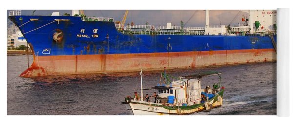 Large Oiltanker And Chinese Fishing Boat Yoga Mat
