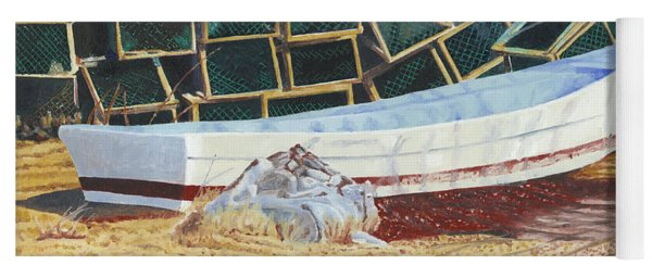 Yoga Mat featuring the painting Lobster Traps And Dory by Dominic White
