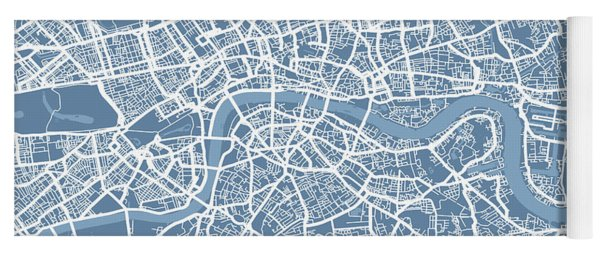 London Map Art Steel Blue Yoga Mat