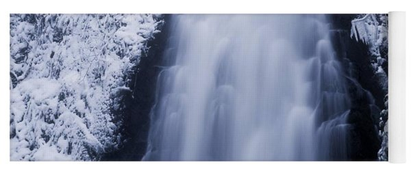 Low Angle View Of A Waterfall, Glenoe Yoga Mat