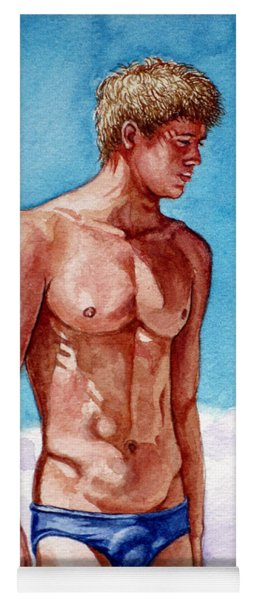 Nude Male Blonde In Blue Speedo Yoga Mat