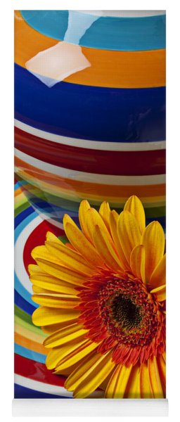 Orange Daisy With Plate And Vase Yoga Mat
