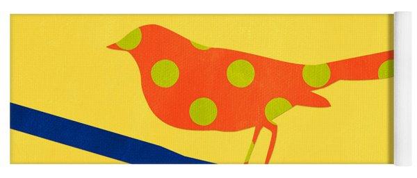 Orange Polka Dot Bird Yoga Mat
