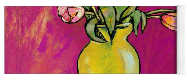 Parrot Tulips In A Yellow Vase Yoga Mat