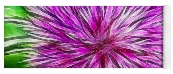 Purple Flower Fractal Yoga Mat