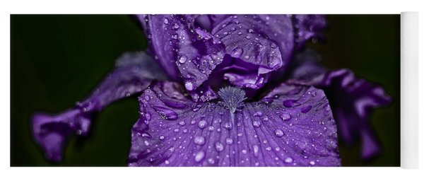 Purple Iris With Water Drops Yoga Mat