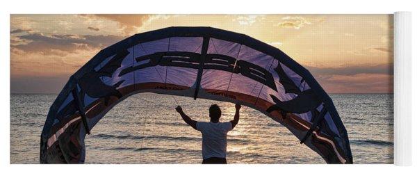 Putting Away The Kite At Clam Pass At Naples Florida Yoga Mat