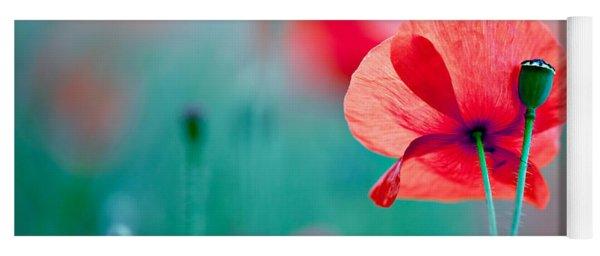 Red Corn Poppy Flowers 04 Yoga Mat
