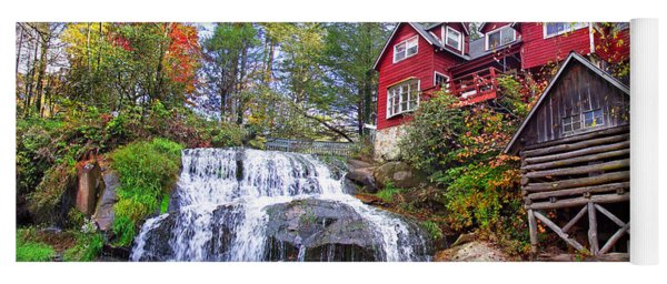 Red House By The Waterfall 2 Yoga Mat