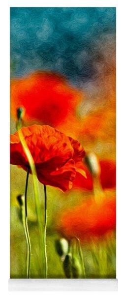 Red Poppy Flowers 01 Yoga Mat