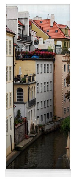 Red Rooftops In Prague Canal Yoga Mat