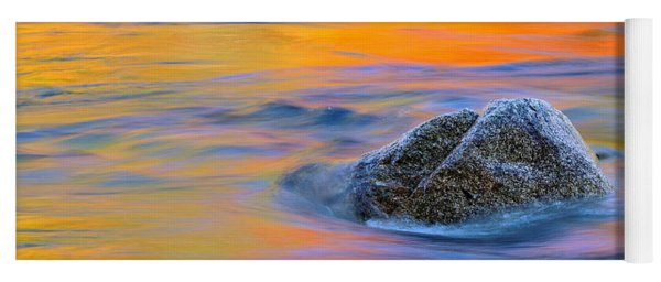 River Rock And Autumn Reflections - Swift River Nh Yoga Mat