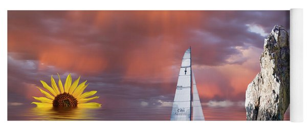 Yoga Mat featuring the mixed media Sailing At Sunset by Shane Bechler