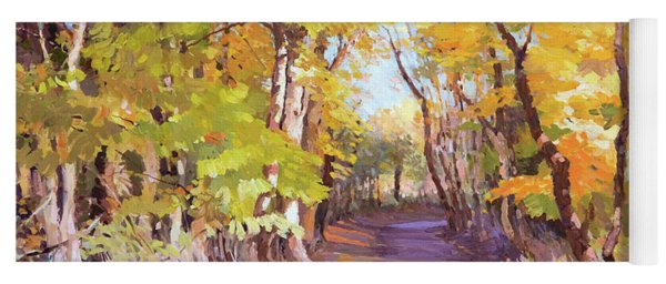 Shady Path At Fall In The Woods Yoga Mat