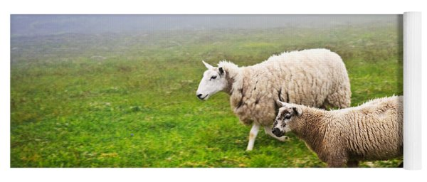 Sheep In Misty Meadow Yoga Mat