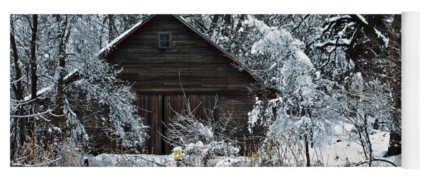 Snow Covered Barn Yoga Mat