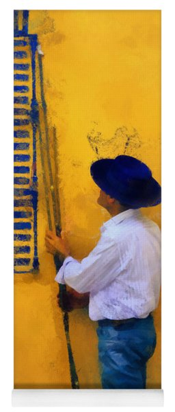 Spanish Man At The Yellow Wall. Impressionism Yoga Mat
