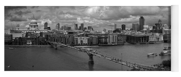 St Paul's And The City Panorama Bw Yoga Mat