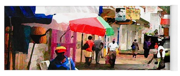Street Scene In Rosea Dominica Filtered Yoga Mat