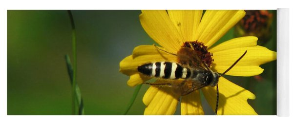 Striped Bee On Wildflower Yoga Mat