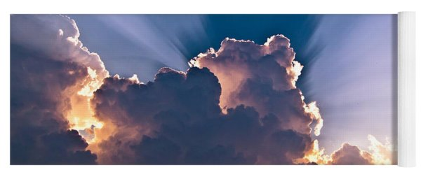 Sun Rays And Clouds Yoga Mat