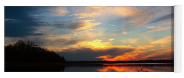 Sunset Over Calm Lake Yoga Mat