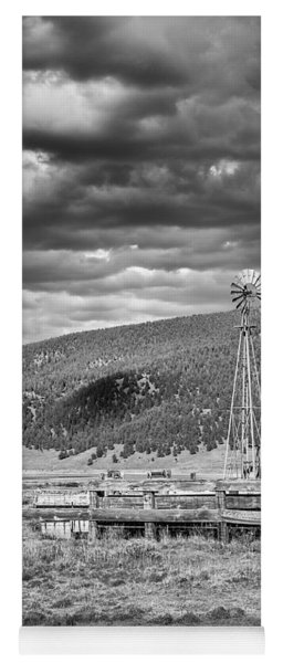 the lonly windmill in B and W Yoga Mat