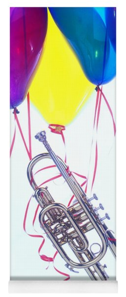 Trumpet Lifted By Balloons Yoga Mat