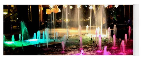 Water Fountain With Stars And Blue Green With Pink Lights Yoga Mat