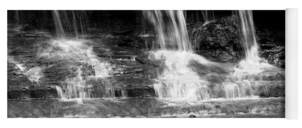 Waterfall Trio At Mcconnells Mill State Park In Black And White Yoga Mat