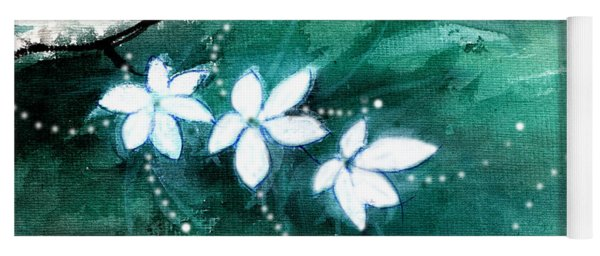 White Flowers Yoga Mat