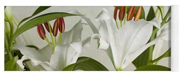 White Lilies Yoga Mat