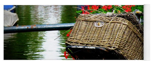 Wicker Bike Basket With Flowers Yoga Mat