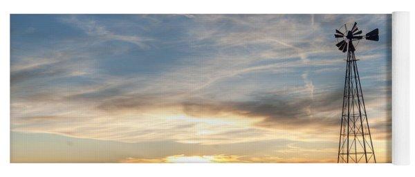Windmill And Sunset Yoga Mat