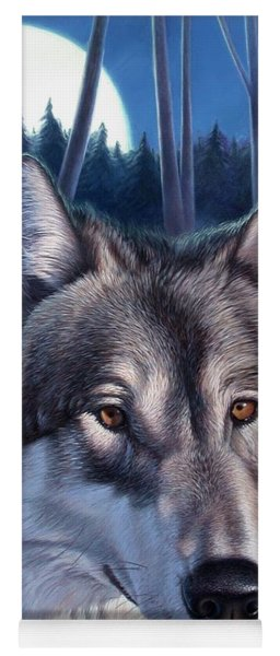 Wolf In Moonlight Yoga Mat