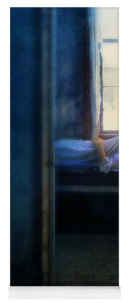 Woman In Nightgown In Bed By Window Yoga Mat
